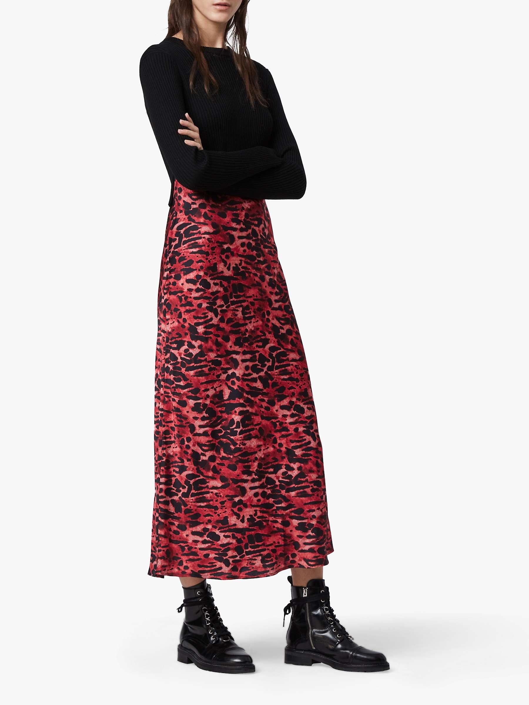 AllSaints Hera Ambient Jumper Animal Print Slip Dress, BlackRed