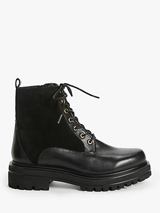 John Lewis & Partners Piccadilly Leather Chunky Biker Boots, Black
