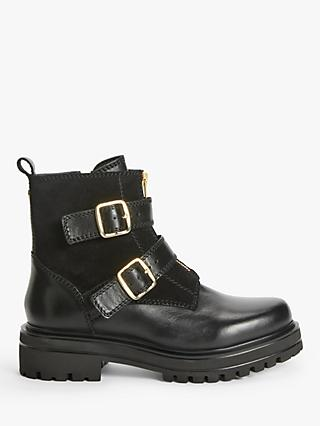 John Lewis & Partners Pax Leather Double Buckle Biker Boots, Black