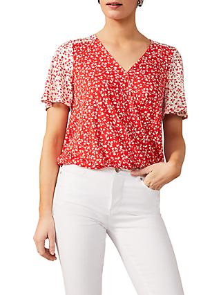 Phase Eight Ebony Ditsy Floral Wrap Top, Red/Ivory