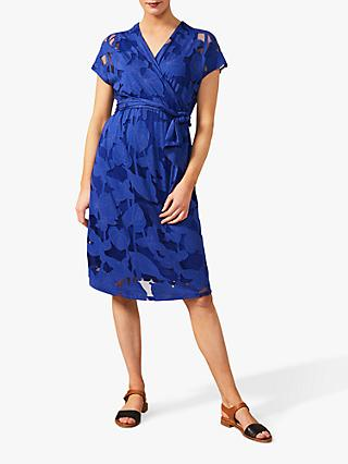 Phase Eight Eleanor Floral Placement Tie Wrap Dress, Cobalt
