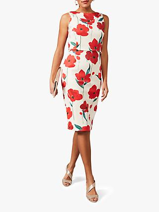 Phase Eight Lou-Poppy Floral Scuba Dress, Ivory/Fire
