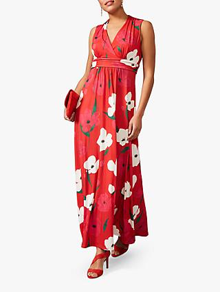 Phase Eight Lou-Poppy V-Neck Maxi Dress, Fire/Multi