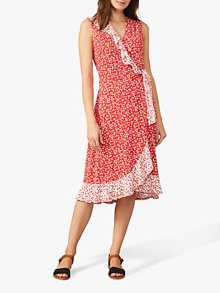 Phase Eight Ebony Floral Midi Wrap Dress, Red/Ivory