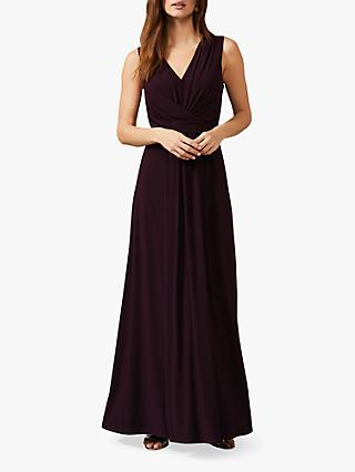 Phase Eight Althea Pleat Detail Maxi Dress, Berry