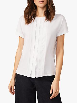 Phase Eight Iona Pleat Top, White