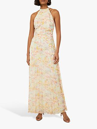 Warehouse Spring Meadow Pleated Skirt Halter Neck Maxi Dress, Multi