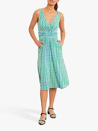 Boden Effie Sleeveless V-Neck Abstract Print Jersey Midi Dress, Rich Petal Arrow