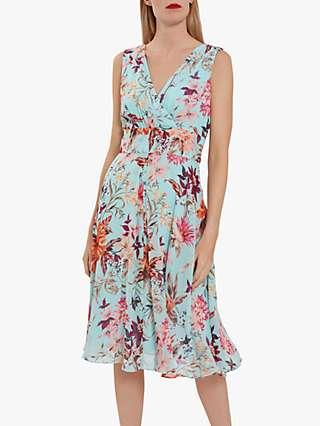 Gina Bacconi Daphnie Floral Midi Dress, Turquoise