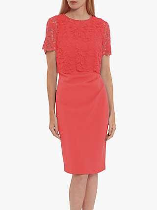 Gina Bacconi Kora Lace Midi Dress, Orange Red