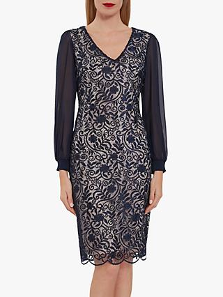 Gina Bacconi Mozelle Embroidered Floral Midi Dress