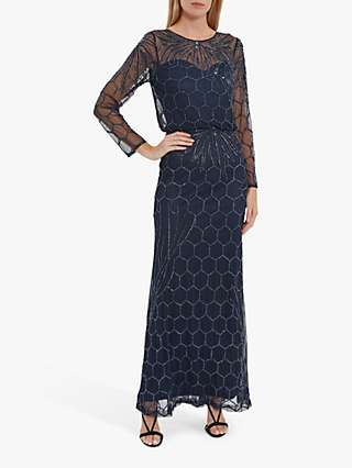 Gina Bacconi Katherine Embellished Hexagon Print Maxi Dress