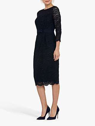 Helen McAlinden Michelle Lace Midi Dress, Navy
