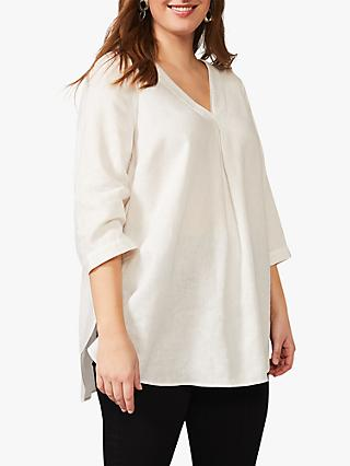 Studio 8 Brett Scallop Trim Neck Linen Top, White