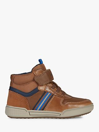 Geox Children's Poseido High Top Trainers, Cognac/Navy