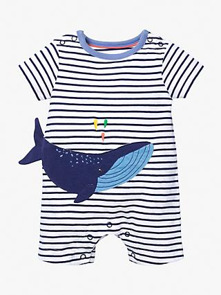 Mini Boden Baby Whale Jersey Romper, White/College Navy