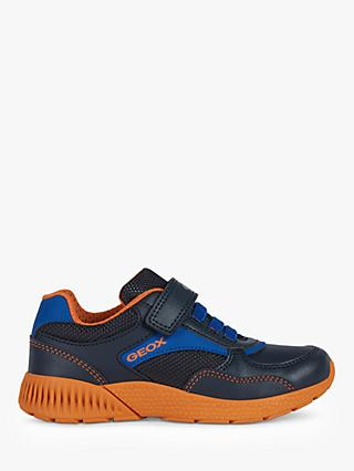 Geox Children's Sveth Riptape Trainers, Navy/Orange