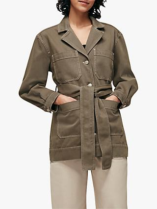 Whistles Safari Tie Belt Button Down Utility Jacket, Khaki