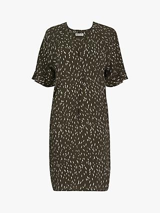 Whistles Alba Fleck Print Shift Dress, Khaki/Multi