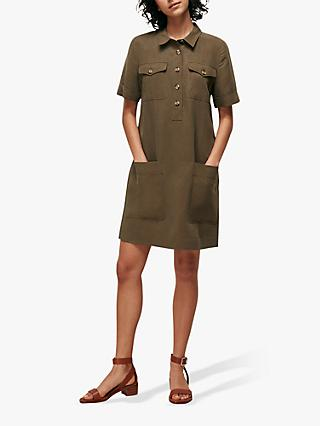 Whistles Pocket Mini Dress, Khaki