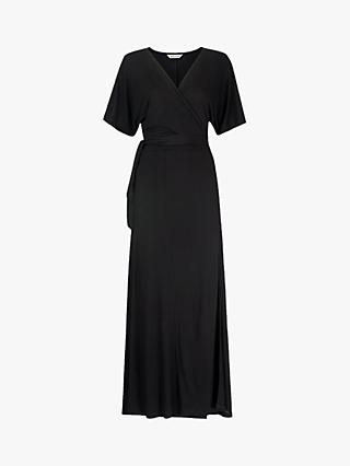 Whistles Jersey Wrap Midi Dress, Black