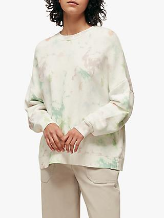 Whistles Tie Dye Round Neck Sweatshirt, White/Multi