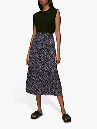 Whistles Kinetic Abstract Print Midi Skirt, Multi