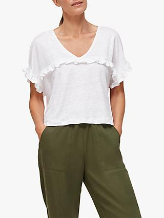 Whistles Linen Frill Top, White