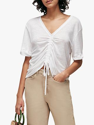 Whistles Drawstring Ruched V-Neck Linen Top, White