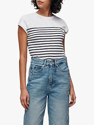 Whistles Minimal Cap Sleeve Stripe T-Shirt, Navy/Multi