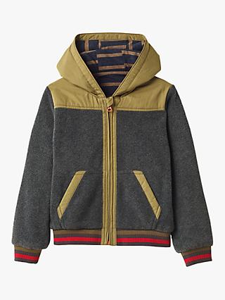 White Stuff Boys' Reversible Hoodie, Stone Grey