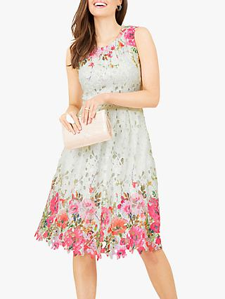 Yumi Mirrored Floral Lace Skater Dress, Ivory