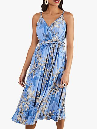 Yumi Butterfly Print Pleated Midi Dress, Blue/Multi