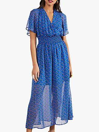 Yumi Ditsy Print Ruched Maxi Dress, Blue