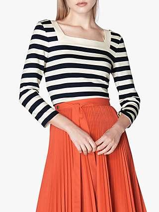 L.K.Bennett Leah Stripe Top, Navy/White