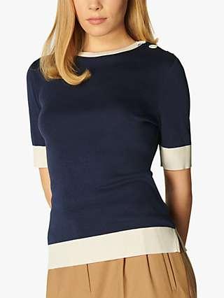 L.K.Bennett Andie Short Sleeve Jersey Top, Cream/Navy