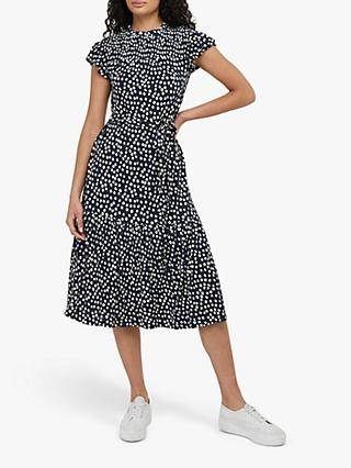 Monsoon Serenity Spot Print Midi Dress, Navy