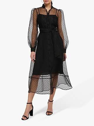 Monsoon Dione Spot Lace Shirt Midi, Black