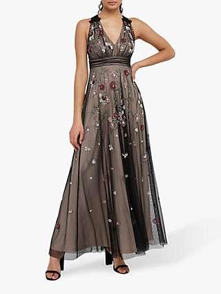 Monsoon Emmy Floral Embellished Maxi Dress, Nude
