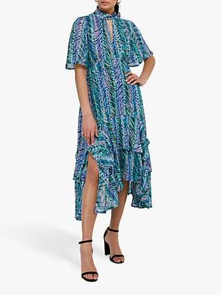 Monsoon Aaliyah Floral Midi Dress, Blue