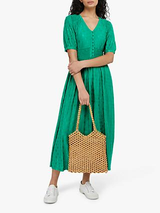 Monsoon Janet Floral Embroidered Midi Dress, Green