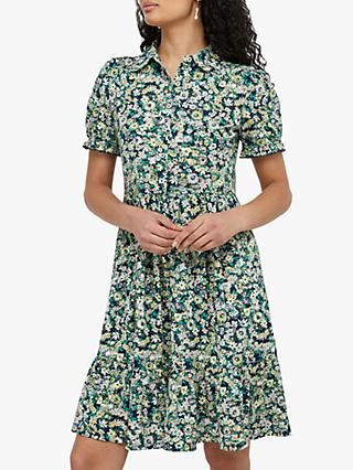 Monsoon Reese Floral Print Jersey Dress, Navy/Multi