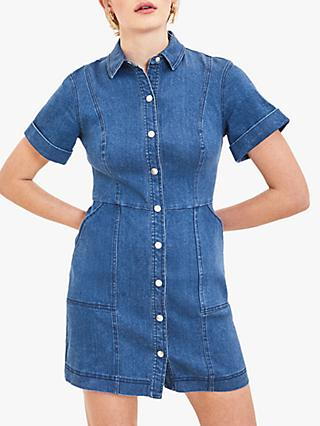 Oasis Denim Button Down Mini Dress, Blue