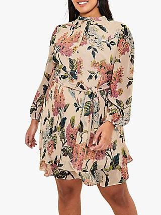 Oasis Curve Floral Dress, Natural/Multi