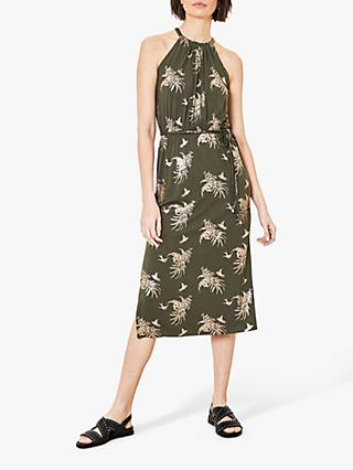 Oasis Foil Palm Leaf Print Dress, Khaki