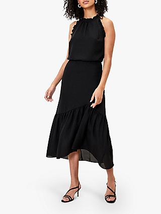 Oasis Ruffle Midi Dress, Black