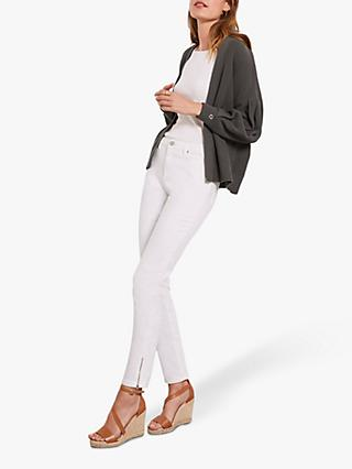 Mint Velvet Houston Zip Cuff Slim Jeans, White