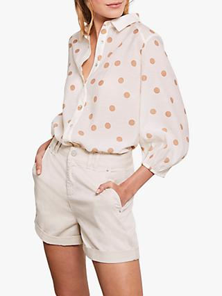 Mint Velvet Spot Print Shirt, Cream
