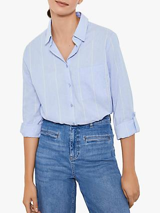 Mint Velvet Pure Cotton Stripe Shirt, Chambray Blue