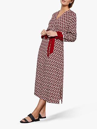 Mint Velvet Samantha Print Midi Shirt Dress, Red/Multi